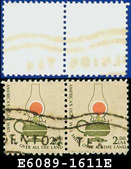 1975 USA USED Pair Scott# 1611 � $2 Kerosene Lamp� Americana 1975 - 81 Issues