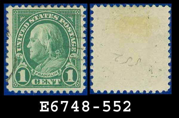 1922-25 USA USED Scott# 552 � 1c Deep Green Franklin � 1922-25 Regular Issue