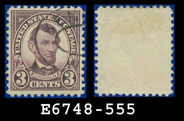 1922-25 USA USED Scott# 555 � 3c Violet Lincoln � 1922-25 Regular Issue