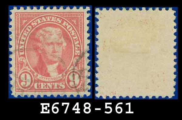 1922-25 USA USED Scott# 561 � 9c Rose Jefferson � 1922-25 Regular Issue