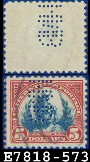 1922-25 USA USED Scott# 573 � $5 Carmine & Blue America � 1922-25 Regular Issue