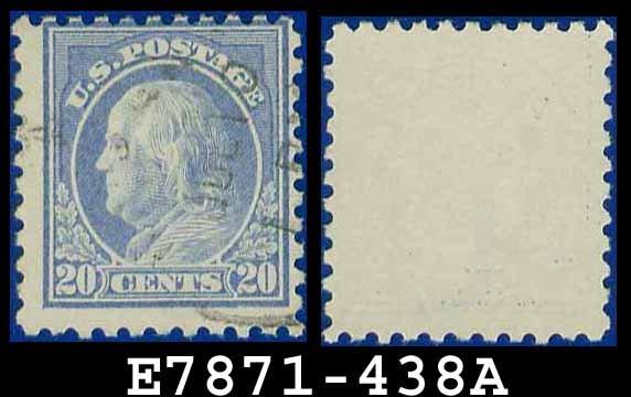 1914-15 USA USED Scott# 438 � 20c Ultramarine Franklin � 1914-15 Regular Issue