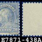 1914-15 USA USED Scott# 438 – 20c Ultramarine Franklin – 1914-15 Regular Issue