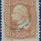 1867 USA USED 94 – 3c Red Washington F Grill – 1867 Regular Issue E9130