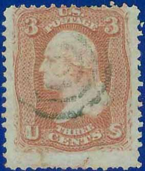 1867 USA USED 94 � 3c Red Washington F Grill � 1867 Regular Issue E9130