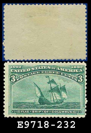 1893 USA UNUSED Scott# 232 � 3c Flag Ship of Columbus � 1893 Columbians