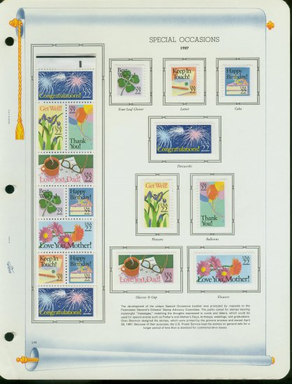 USA MH Sc# 2251 � 74 18 - 22c Comm Stamps Hinge Mounted on ONE White Ace Page � E2703