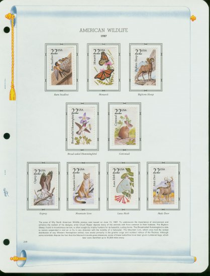 USA MH Sc# 2286 � 2335 - 50 - 22c American Wildlife Stamps Hinge Mounted on WA Pages � E2703