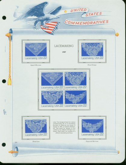 USA MH Sc# 2351 � 54 8 - 22c Comm Stamps Hinge Mounted on ONE White Ace Page � E2703