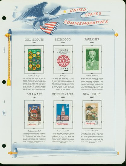 USA MH Sc# 2251, 2336-8, 2349-50 - 6 - 22c Comm Stamps Hinge Mounted on ONE WA Page � E2703