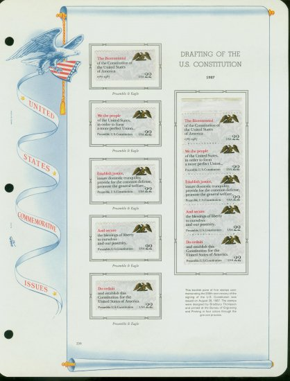 USA MH Sc# 2355 - 59 - 10 - 22c Comm Stamps Hinge Mounted on ONE White Ace Page � E2703