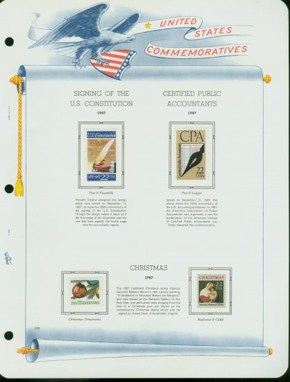 USA MH Scott# 2360 - 68 - 4 - 22c Comm Stamps Hinge Mounted on ONE White Ace Page � E2703