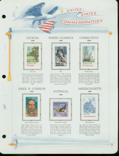 USA MH Scott# 2339 � 71 Six 22c Comm Stamps Hinge Mounted on ONE White Ace Page � E2703