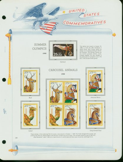 USA MH Sc# 2380, 90 � 93 - 9 UNUSED 25c Stamps Hinge Mounted on ONE White Ace ALBUM Page � E2703