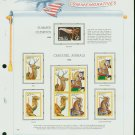 USA MH Sc# 2380, 90 – 93 - 9 UNUSED 25c Stamps Hinge Mounted on ONE White Ace ALBUM Page – E2703