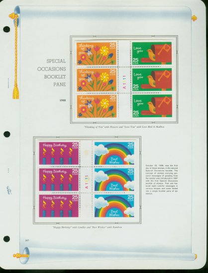 USA MH Sc# 2395 - 98 - 12 UNUSED 25c Stamps Hinge Mounted on ONE White Ace ALBUM Page � E2703