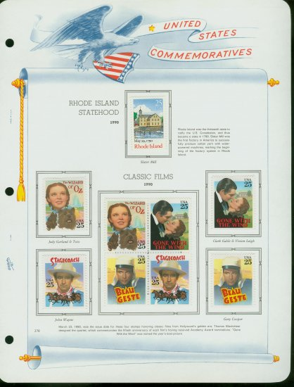 USA MH Sc# 2445 - 48 - 9 UNUSED 25c Comm Stamps Hinge Mounted on ONE White Ace ALBUM Page � E2703