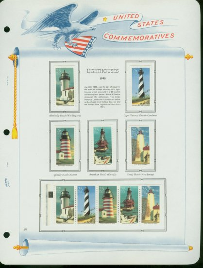 USA MH Sc# 2470 - 4 - 10 UNUSED 25c Comm Stamps Hinge Mounted on ONE White Ace ALBUM Page � E2703