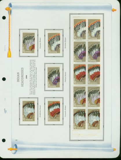 USA MH Sc# 2501 � 5 - 15 UNUSED 25c Comm Stamps Hinge Mounted on ONE White Ace ALBUM Page� E2703