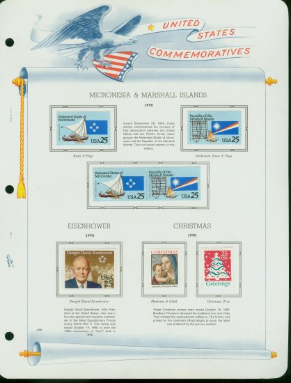 USA MH Sc# 2506 � 15 - 7 UNUSED 25c Stamps Hinge Mounted on ONE White Ace ALBUM Page � E2703
