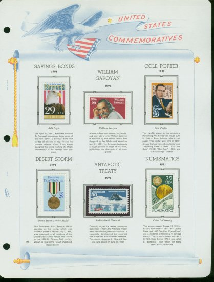 USA MH Sc# 2534�58, C130 - 6 UNUSED Stamps Hinge Mounted on ONE White Ace ALBUM Page � E2703