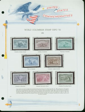 USA MH Sc# 2624�29 16 UNUSED Columbian Souvenir Stamps Mounted on Two WA ALBUM Pages � E2703