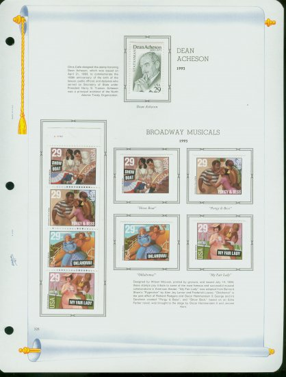 USA MH Sc# 2755, 67 - 70 - 9 UNUSED 29c Stamps Hinge Mounted on ONE White Ace ALBUM Page � E2703