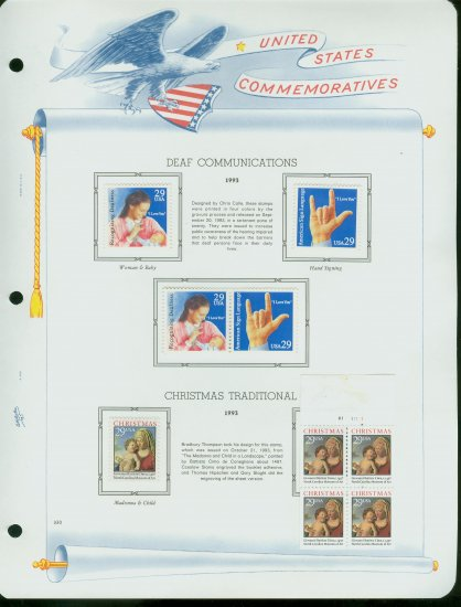 USA MH Scott# 2783 - 89 - 9 UNUSED 29c Stamps Hinge Mounted on ONE White Ace ALBUM Page � E2703