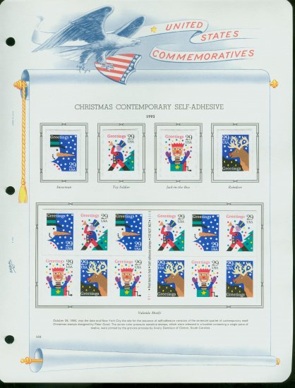 USA MH Sc# 2799 - 2802 - 16 UNUSED 29c Stamps Hinge Mounted on ONE White Ace ALBUM Page � E2703