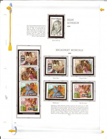USA Sc# 2755, 67 - 70 - 9 MNHOG UNUSED 29c Stamps Mounted on ONE White Ace ALBUM Page � E8337