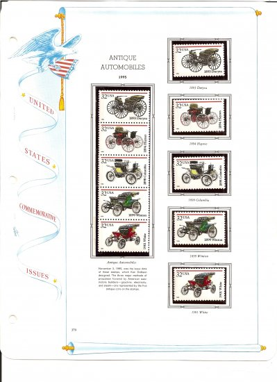 USA Sc# 3019 - 23 - 10 MNHOG UNUSED 32c Stamps Mounted on ONE White Ace ALBUM Page � E8337