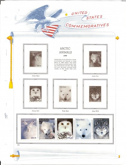 USA MH Sc# 3288 � 92 - 5 UNUSED 33c Stamps Hinge Mounted on ONE White Ace ALBUM Page � E2703