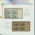 1969 USA MNH Sc# 1391 – 2 Blocks of 4 Stamps mounted on a WA Page – Plt #'d Bks of 4 – E2703