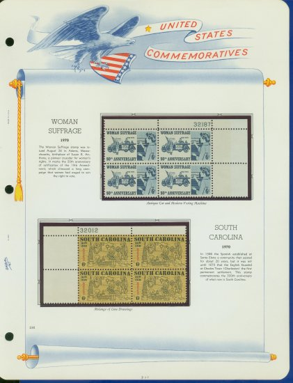 1970 USA MNH Sc# 1406 � 7  Blks of 4 Stamps mounted on a WA Page � Plt #�d Bks of 4 � E2703