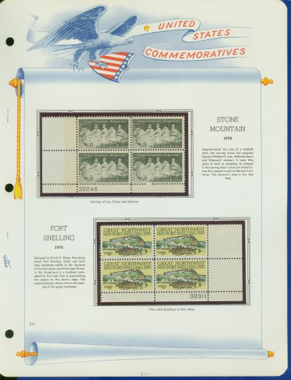 1970 USA MNH Sc# 1408 � 9 Blks of 4 Stamps mounted on a WA Page � Plt #�d Bks of 4 � E2703