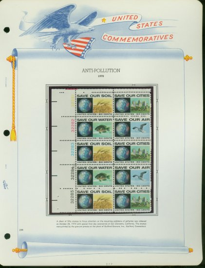 1970 USA MNH Sc# 1410 �13 Anti-Pollution Stamps on 4 WA Pages � Plt #�d Blocks of 10 � E2703