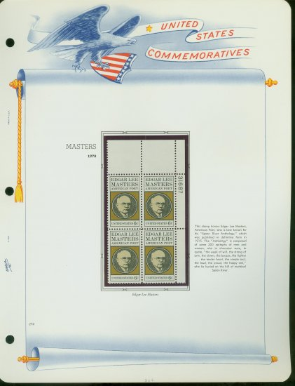 1970 USA MNH Sc# 1405 Plate #�d Blk of 4 Stamps mounted on a WA Page � El Masters � E2703