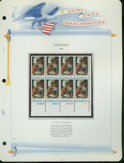 1970 USA MNH Sc# 1414 Plate #�d Blk of 8 Stamps mounted on a WA Pg � Nativity Painting � E2703