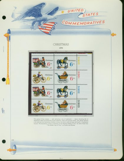 1970 USA MNH Sc# 1415 � 18 Christmas Toys Stamps on 4 WA Pages � Plate #�d Blks of 8 � E2703