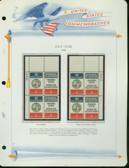 1970 USA MNH Sc# 1421 � 2 - Plate #�d Blocks of 4 Stamps mounted on a White Ace Page � E2703