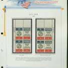 1970 USA MNH Sc# 1421 – 2 - Plate #'d Blocks of 4 Stamps mounted on a White Ace Page – E2703