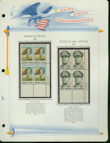 1971 USA MNH Sc# 1423 � 4 - Plate #�d Blocks of 4 Stamps mounted on a White Ace Page � E2703