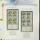 1971 USA MNH Sc# 1423 – 4 - Plate #'d Blocks of 4 Stamps mounted on a White Ace Page – E2703