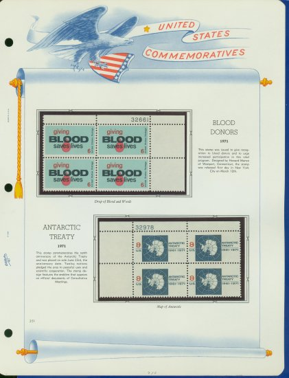1971 USA MNH Sc# 1425 � 31 - Plate #�d Blocks of 4 Stamps mounted on a White Ace Page � E2703