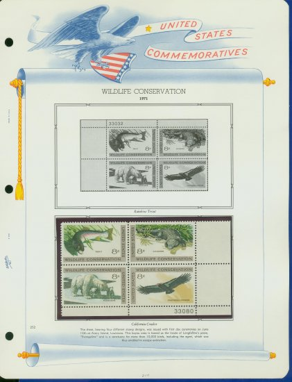 1971 USA MNH Sc# 1427 � 30 Wildlife Conservation Stamps on WA Pgs �Plt #�d Blks of 4� E2703