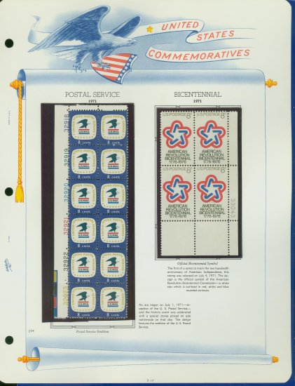 1971 USA MNH Scott# 1396, 1432 - Plate #�d Blocks of Stamps mounted on a WA Page � E2703