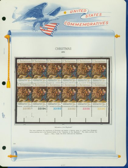 1971 USA MNH Sc# 1444 Plate #�d Block of 12 Stamps mounted on a WA Pg � Christmas � E2703