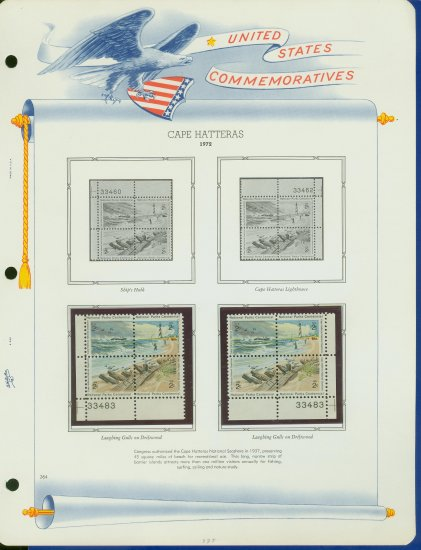 1972 USA MNH Sc# 1448 - 51 � Plate #�d Blocks of 4 Stamps mounted on a White Ace Page � E2703
