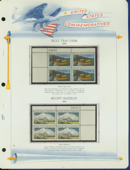 1972 USA MNH Sc# 1452, 54 � Plate #�d Blocks of 4 Stamps mounted on a White Ace Page � E2703