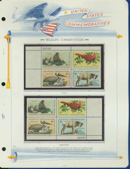 1972 USA MNH Sc# 1464 � 7 Wildlife Conservation Stamps on WA Pgs �Plt #�d Blks of 4� E2703